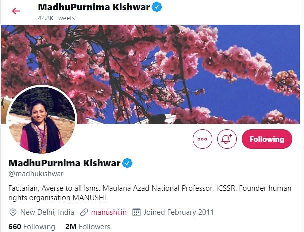 Fake News, Sexism & Bigotry: Snapshot of Madhu Kishwar's Timeline
