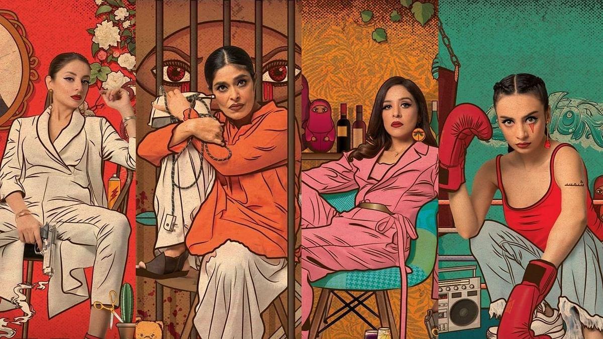 Actors Nimra Bucha, Yasra Rizvi, Sarwat Gilani and Mehar Bano in web series 'Churails'.