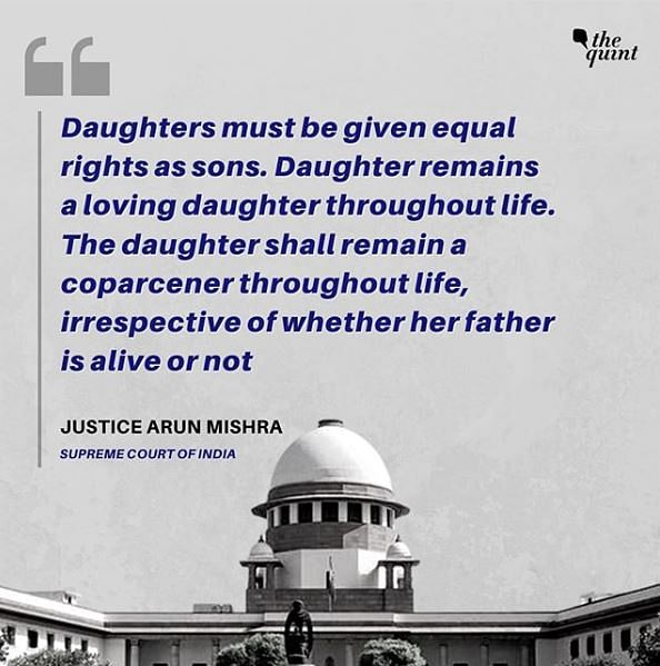 2005 Act's Equal Property Rights to Daughters Applies in All Cases