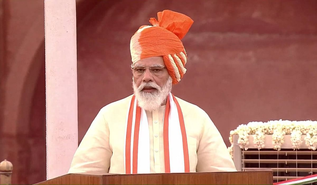 Prime Minister Narendra Modi at the Independence Day celebrations at Red Fort.