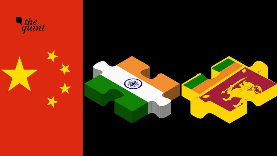 Image of Chinese flag (L), Indian flag and Sri Lankan flag (R) used for representational purposes.