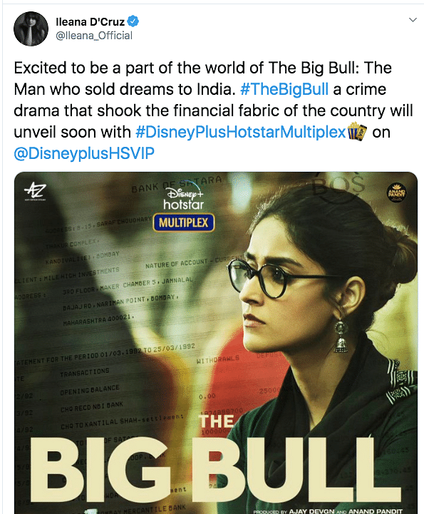 Ileana D'Cruz in a poster from The Big Bull.