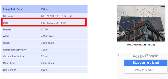 The EXIF data shows that the image has been clicked on 13 August at 6:18 pm.