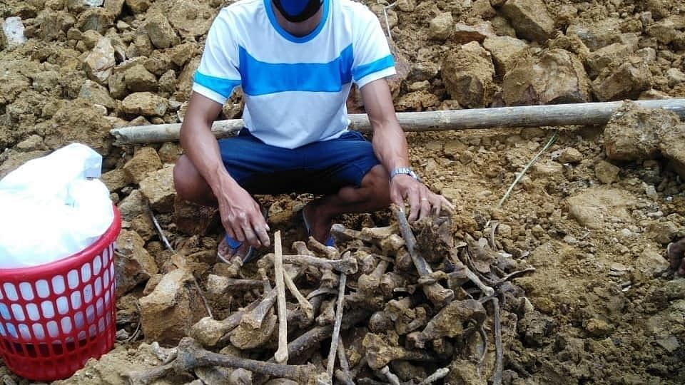 Human skulls and bones, believed to be several decades old, found in western Mizoram's Mamit district.