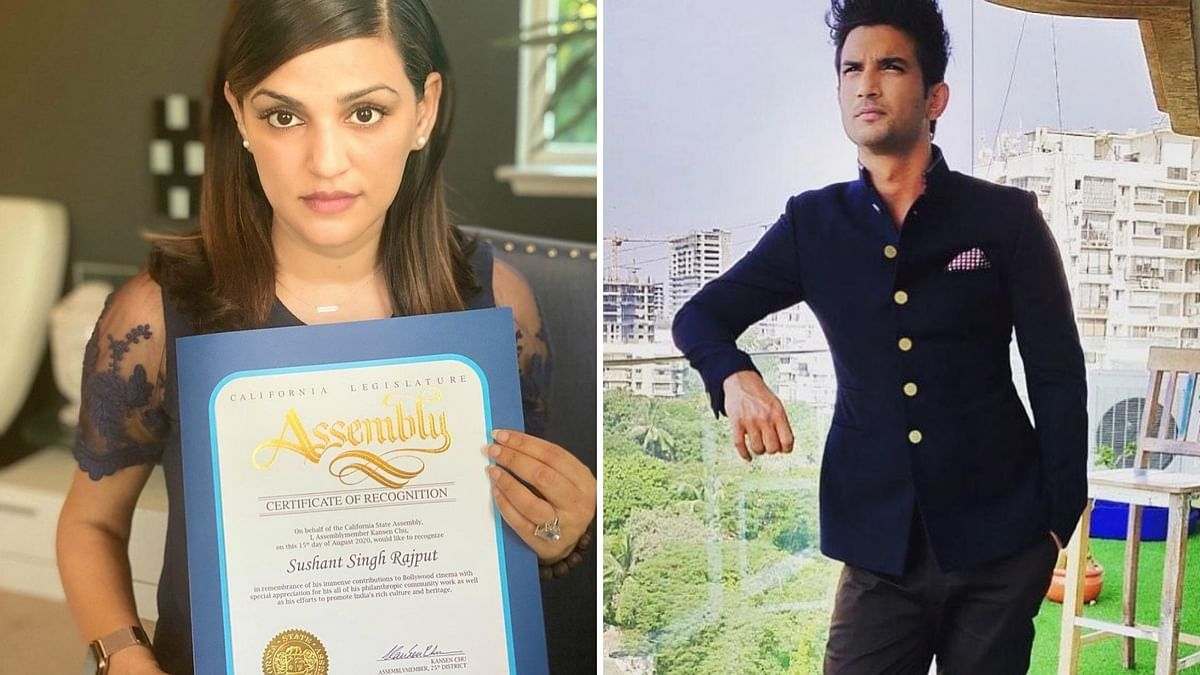Sushant Singh Rajput's sister Shweta accepts a recognition by California State Assembly on his behalf.