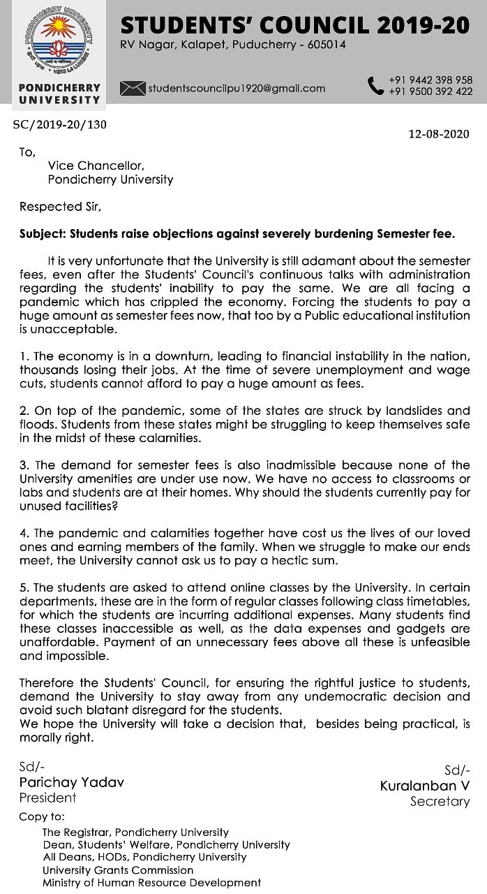 """The Student Council has written several letters to the University Vice-Chancellor stating that the university's demand for the full semester fee is """"insensitive."""""""