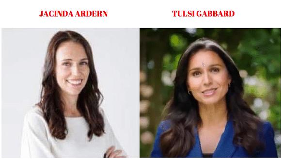 Left: Jacinda Ardern. Right: Tulsi Gabbard.