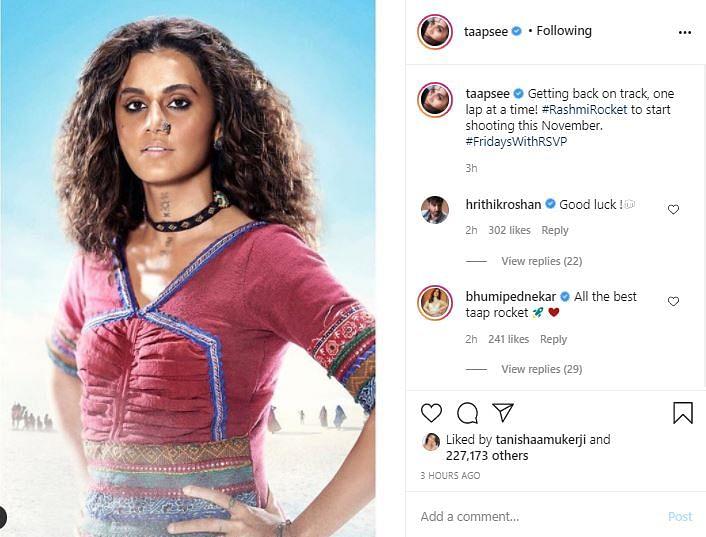 Taapsee Pannu's 'Rashmi Rocket' to Go on Floors in November