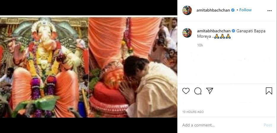 Actor Amitabh Bachchan posted a picture on his Instagramfrom his visit to Lalbaugcha Raja.