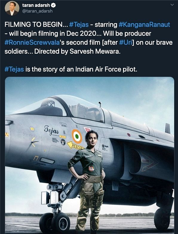 Kangana Set to Play Air Force Pilot in Upcoming Film 'Tejas'