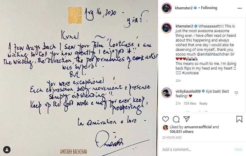 Kunal Kemmu Receives Handwritten Note From Big B For 'Lootcase'