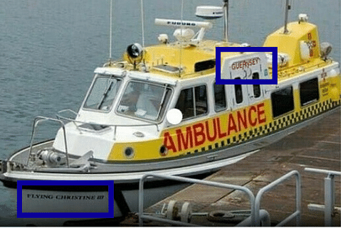 """The boat mentions """"Guernsey"""" and """"Flying Christine III."""""""