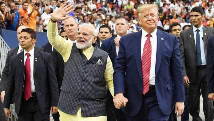 PM Modi and Donald Trump at the 'Howdy Modi' event.