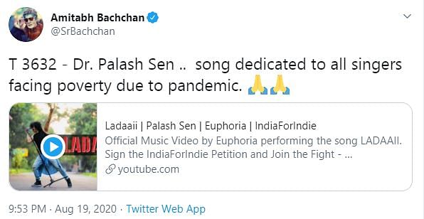Palash Sen's Song 'Ladaaii' Part of Campaign To Help Musicians
