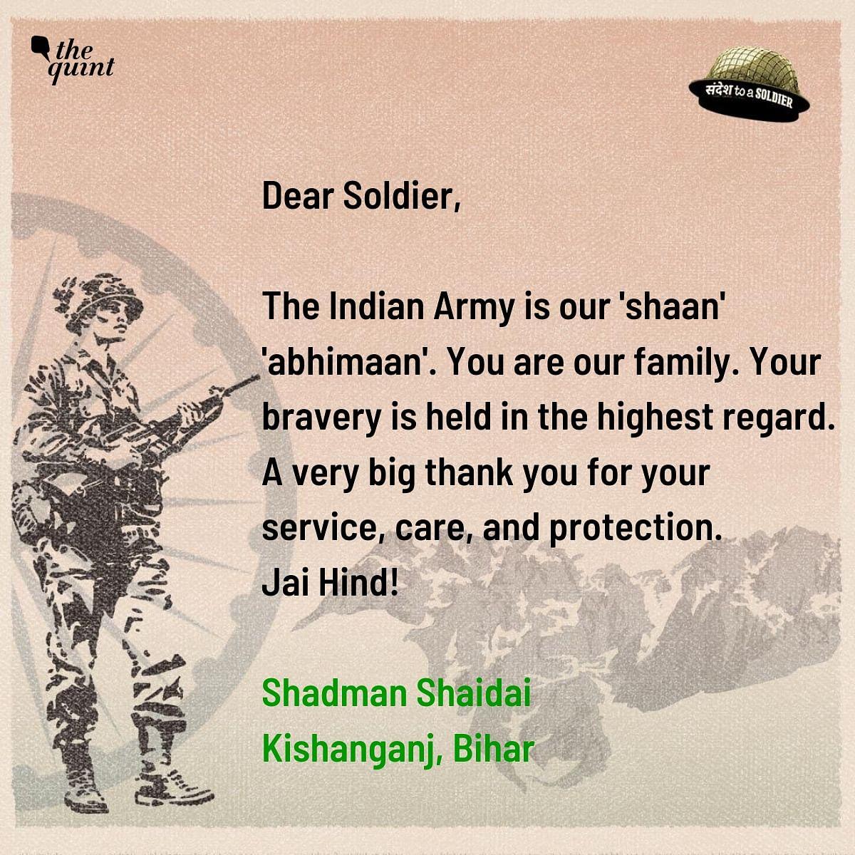 Shadman Shaidai from Bihar sends his sandesh to a soldier.