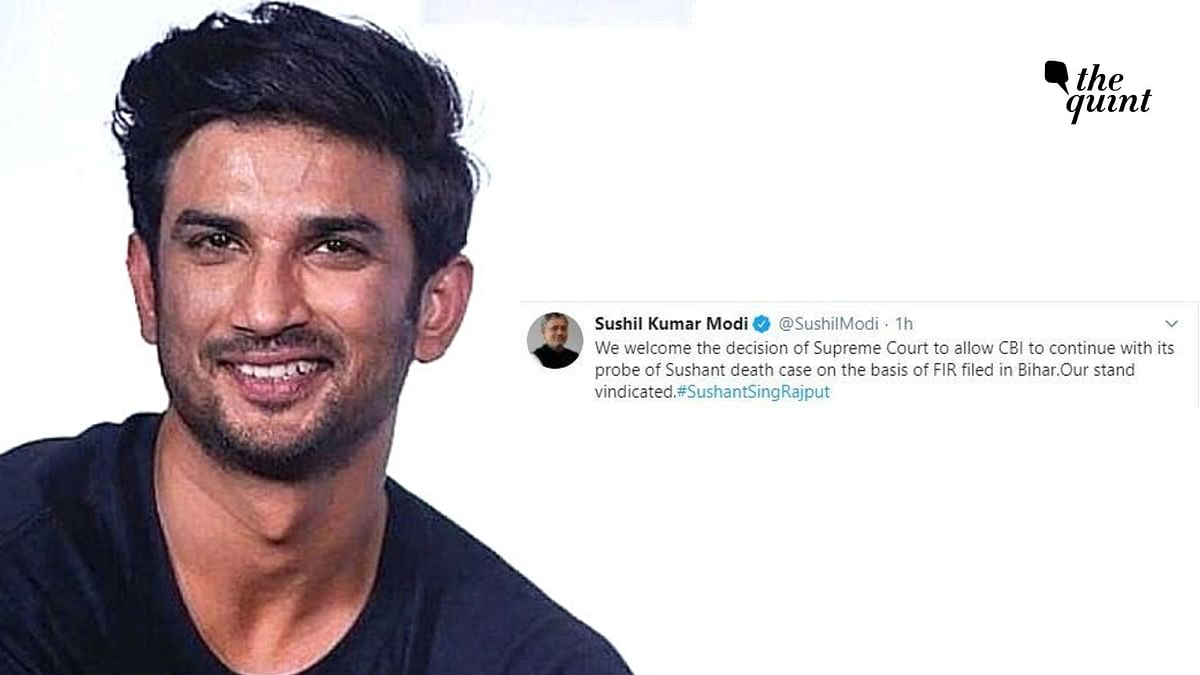 """Several political leaders on Wednesday, 19 August hailed the<a href=""""https://www.thequint.com/entertainment/bollywood/sushant-singh-rajput-case-supreme-court-judgment-on-rhea-chakraborty-petition""""> Supreme Cort verdict that orderd a probe</a> by the Central Bureau of Investigation (CBI) onto the death of actor Sushant Singh Rajput."""
