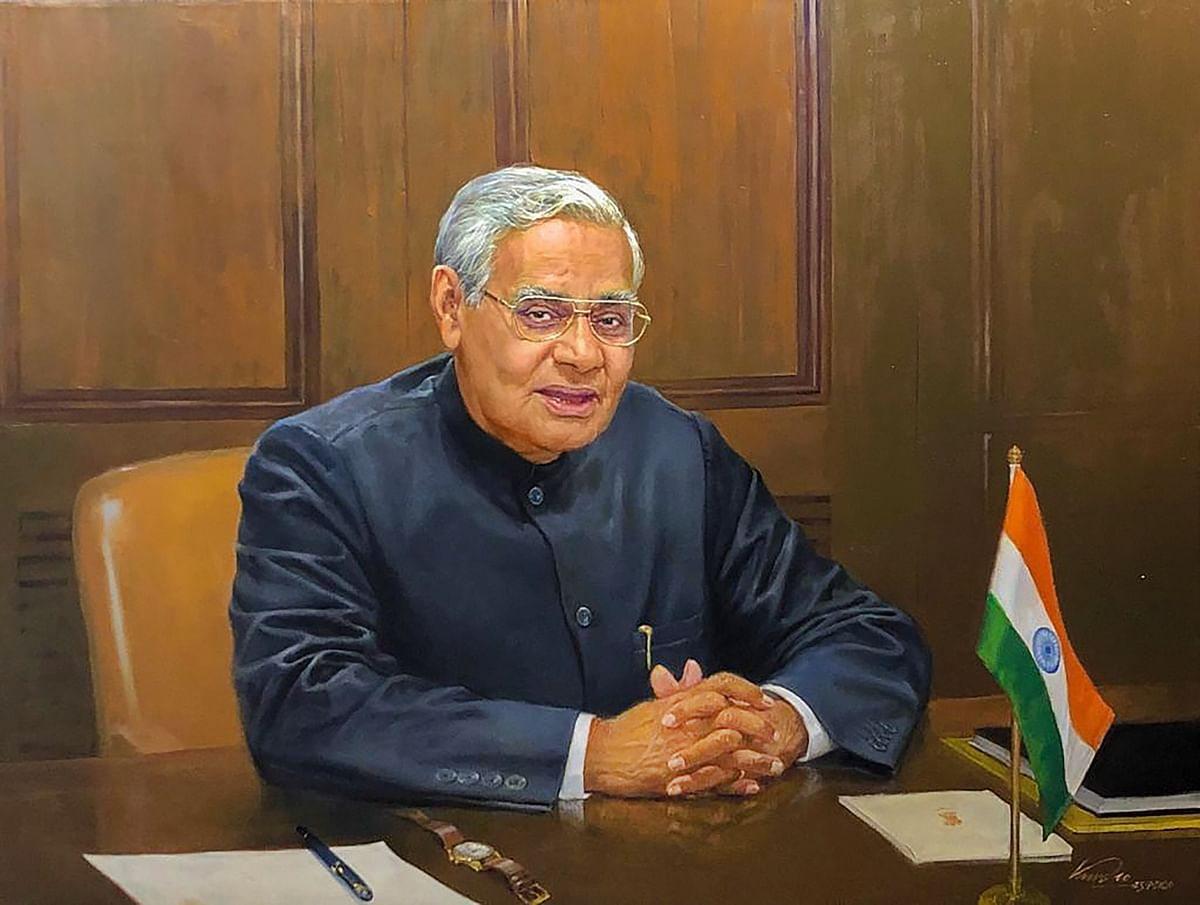 A portrait of former Prime Minister the late Atal Bihari Vajpayee that was unveiled by President Ram Nath Kovind on the occasion of his second death anniversary, on Sunday, 16 August 2020. The portrait was prepared by renowned artist Vasudeo Kamath for ICCR.