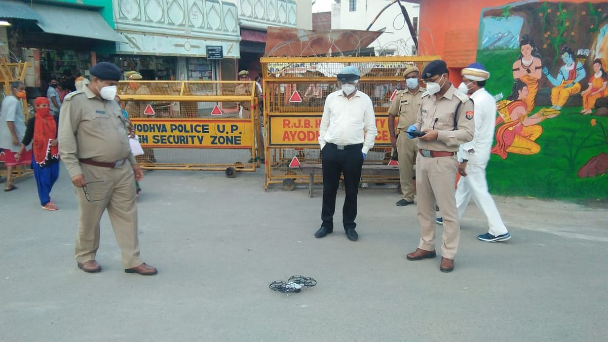 A drone being tested by the police ahead of the Bhoomi Pujan ceremony.