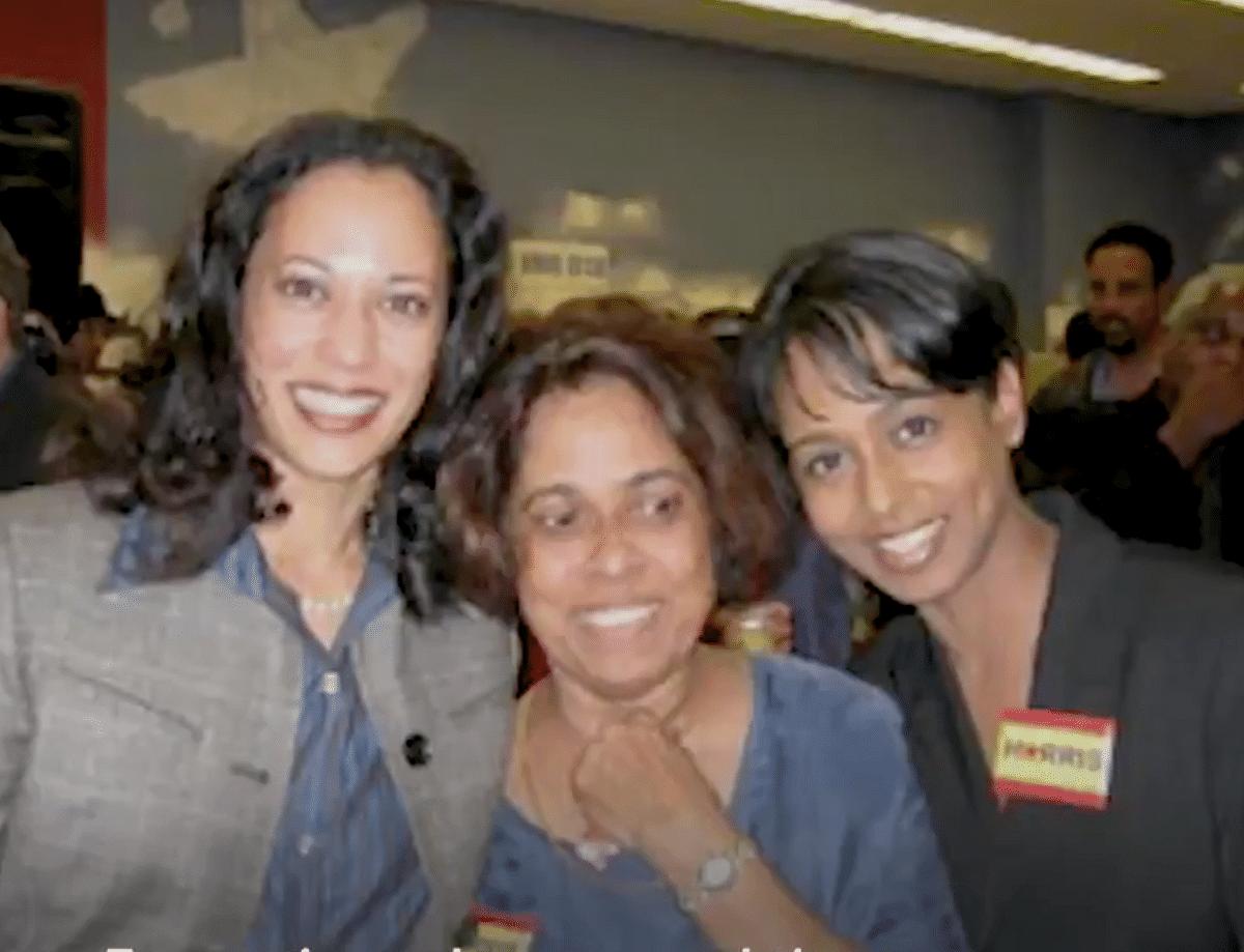 Kamala Harris with her sister Maya Harris and mother Shyamala Gopalan Harris.