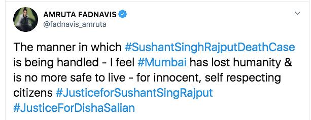 Amruta Fadnavis tweets about Sushant Singh Rajput's demise.