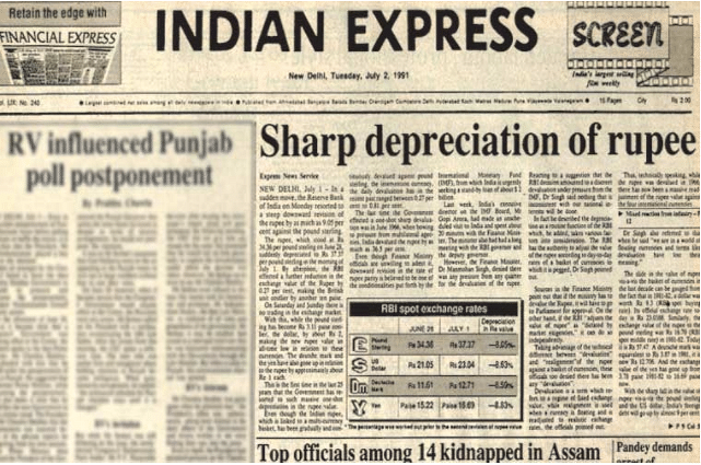 A 2 July 1991 copy of The Indian Express, front page news on rupee getting devalued.