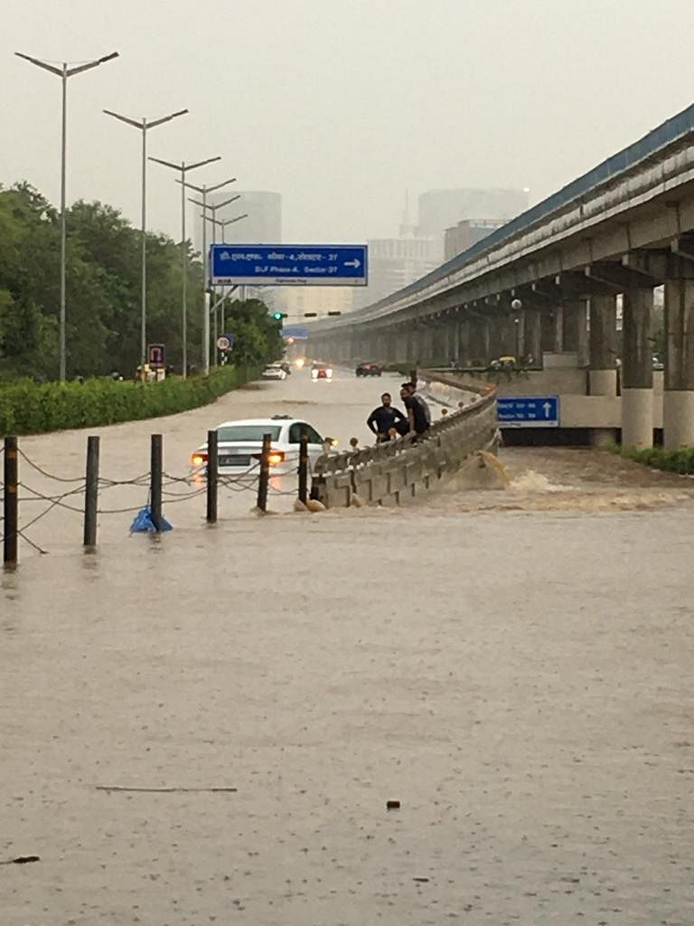 Delhi-NCR Rains: Roads Flooded, Wall Collapse Leaves Cars Damaged