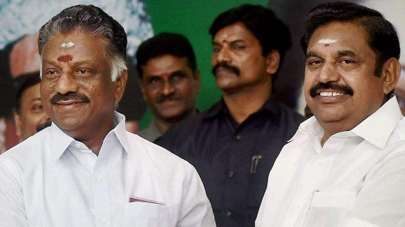 File photo of Tamil Nadu CM Edappadi K Palaniswami (R) and Deputy CM O Panneerselvam (L).