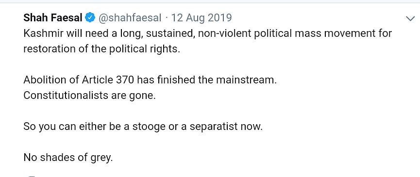 'Stooge or Separatist': What Shah Faesal's Deleted Tweets Said