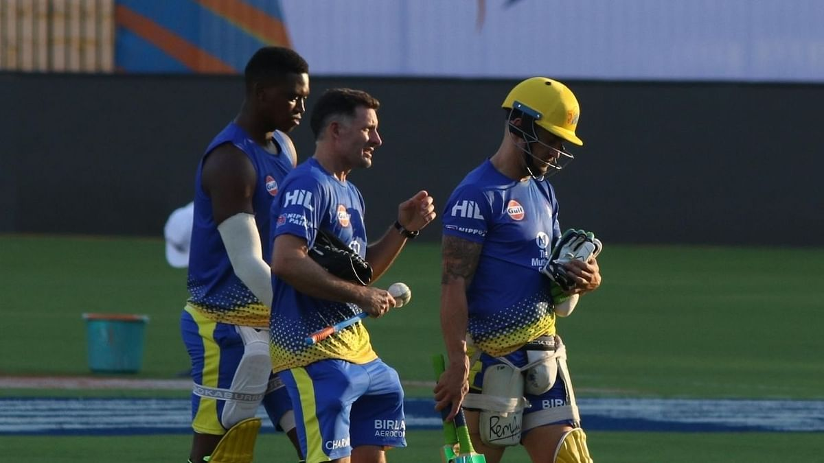 CSK's South African players Faf du Plessis and Lungi Ngidi are expected to join them soon after the team lands in the UAE.