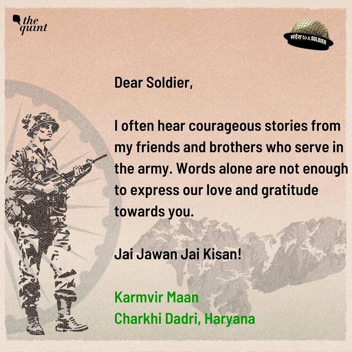 Karmvir Maan from Haryana sends his sandesh to a soldier.