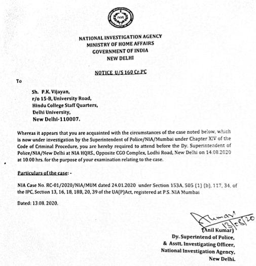 Bhima Koregaon Case: NIA Summons Two DU Professors for Questioning