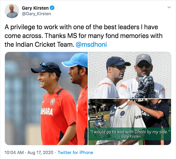 Dhoni One of The Best Leaders I Have Come Across: Gary Kirtsen