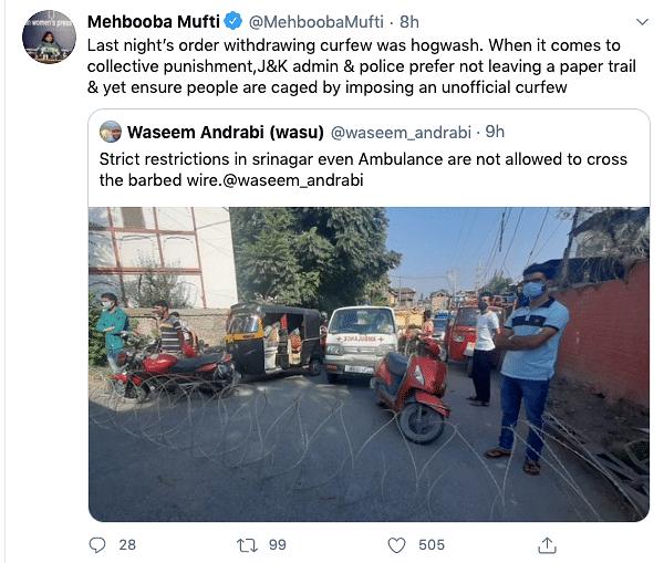 J&K Admin's Order to Lift Curfew Was 'Hogwash': Mehbooba Mufti