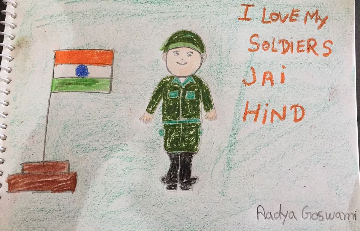 Aadya Goswami draws her sandesh to a soldier.