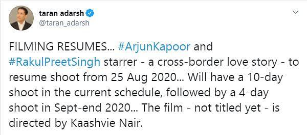 Arjun Kapoor, Rakul Preet Singh to Resume Shoot For Their Next