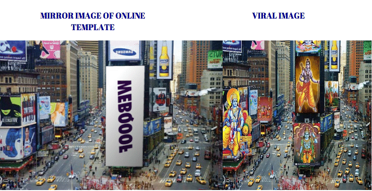 Left: Mirror image of online template. Right: Viral image.