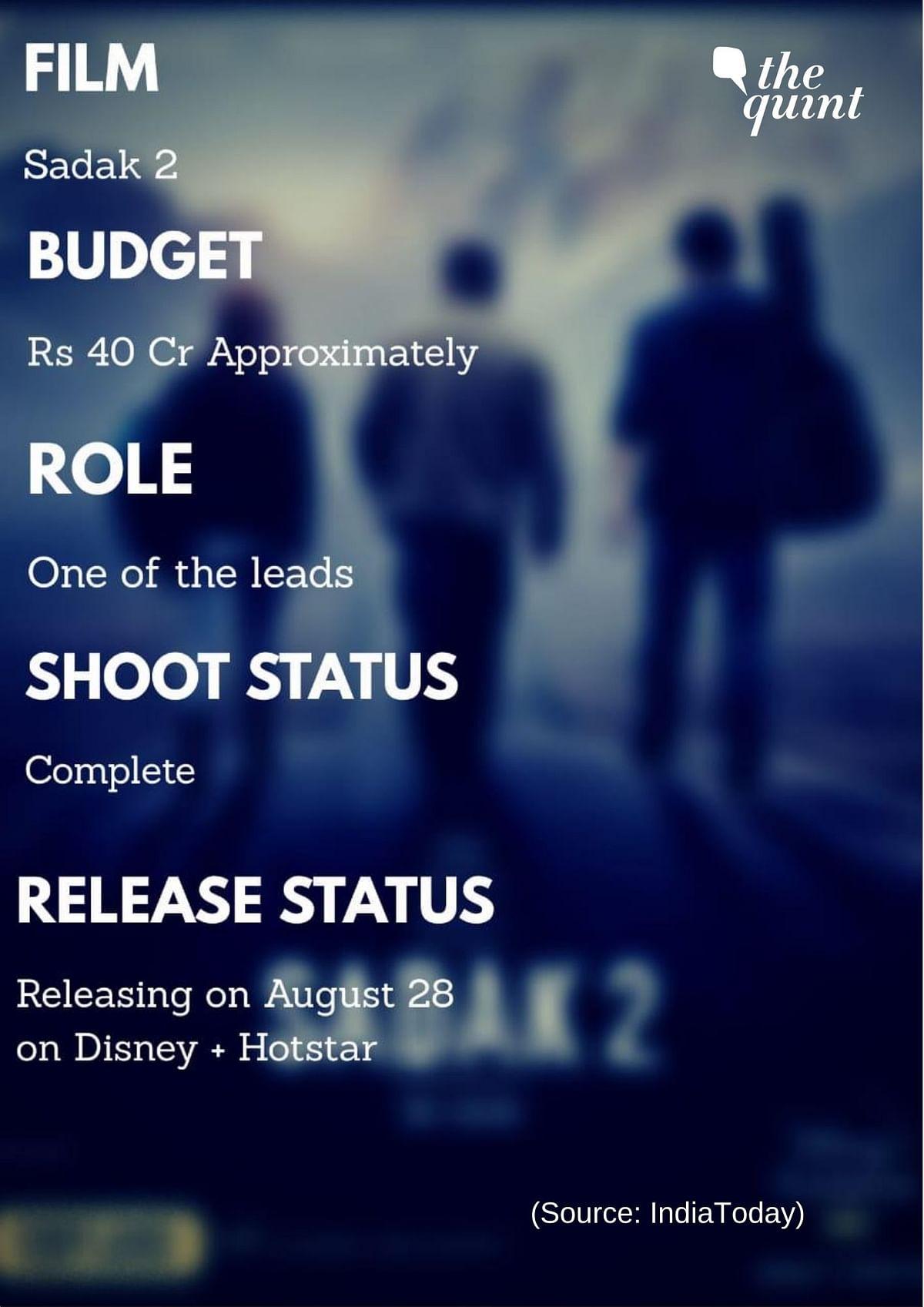 <i>Sadak 2</i> is a multi starrer film with Alia Bhatt, Aditya Roy Kapur and Sanjay Dutt playing the lead roles.