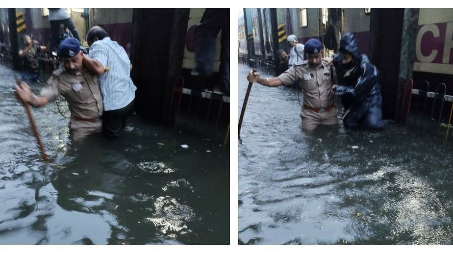 Two local trains are stuck in Mumbai's Central line between Masjid and Byculla stations as they failed to move ahead due to excess waterlogging on tracks amid heavy rains in the city.