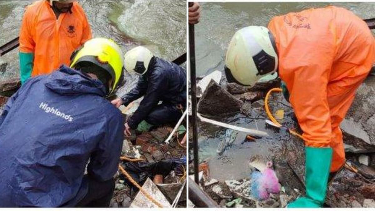 Two houses next to a nallah had collapsed and one woman and three girls from one of the houses fell in the open nallah in Mumbai amid heavy rains.