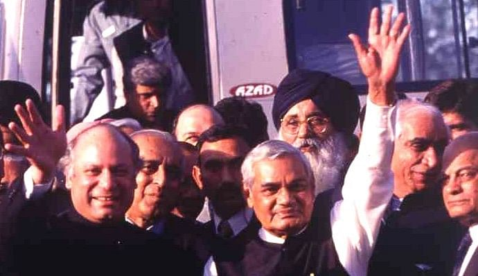 Prime Minister Atal Bihari Vajpayee in Lahore; Jaswant Singh is also seen this photo.