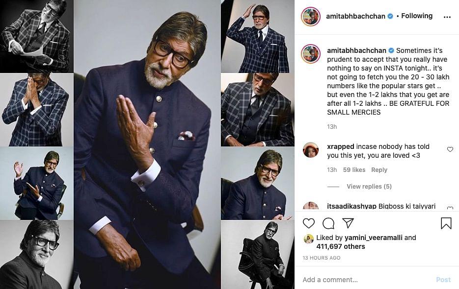 Instagram post by Amitabh Bachchan