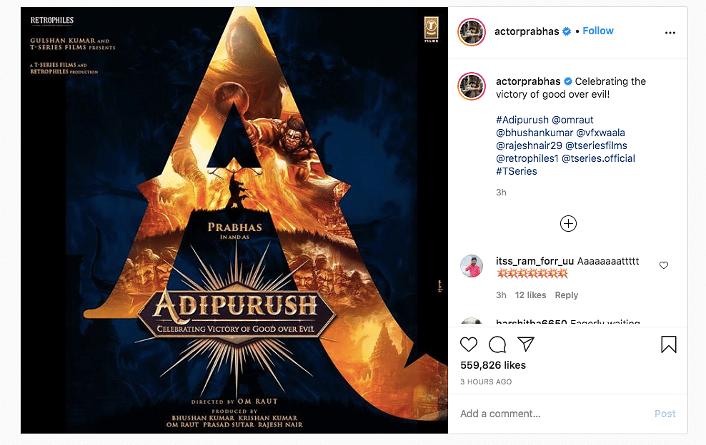 Prabhas shares a poster of his upcoming film.