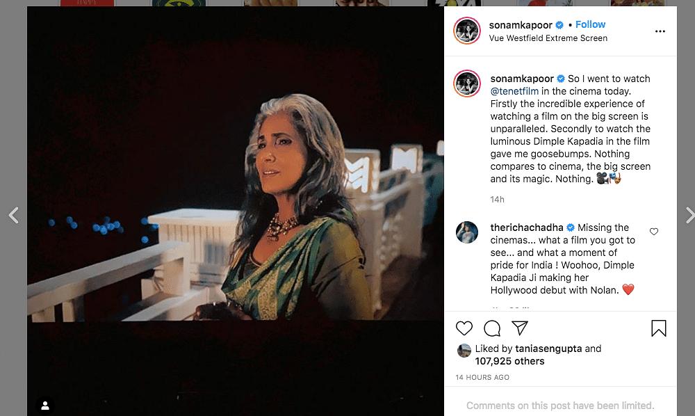 Sonam Kapoor watches Tenet in London.