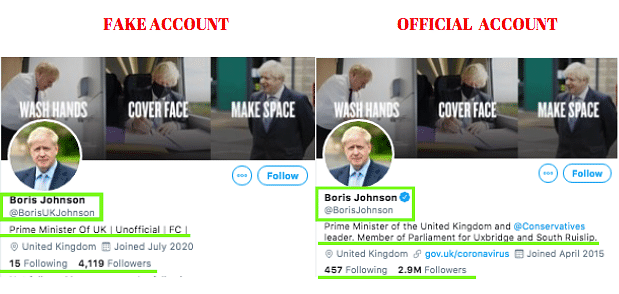 Left: Fake account. Right: Official account.