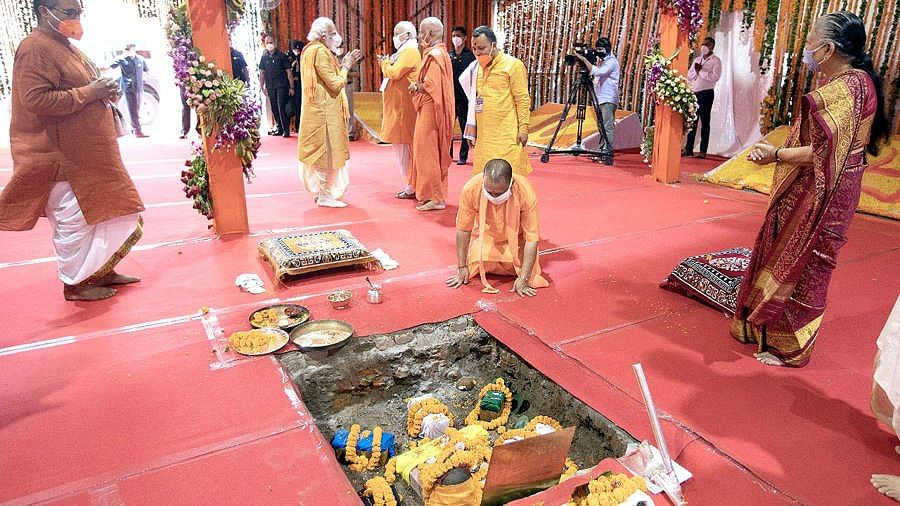 Image of UP CM Yogi Adityanath at the Bhoomi Pujan.