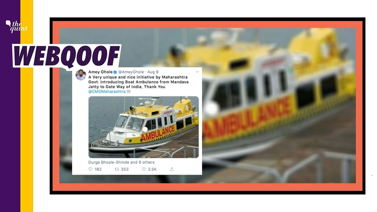 BMC Officer Uses Pic From Guernsey to Show Maha's Boat Ambulance