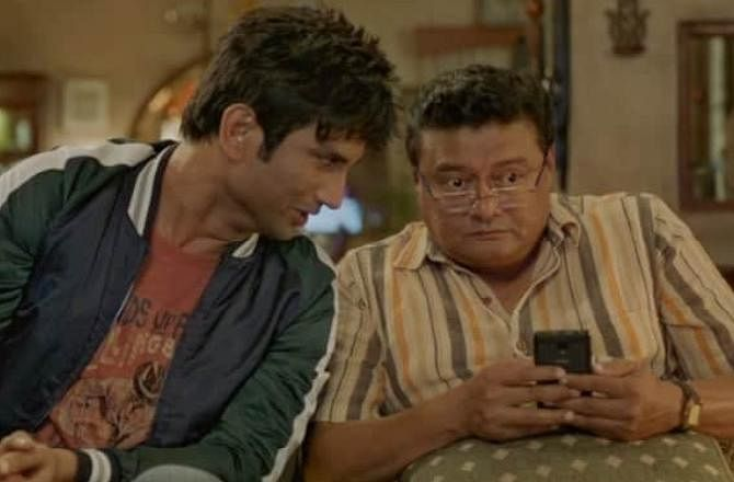 Saswata Chatterjee and Sushant Singh Rajput in a still from Dil Bechara