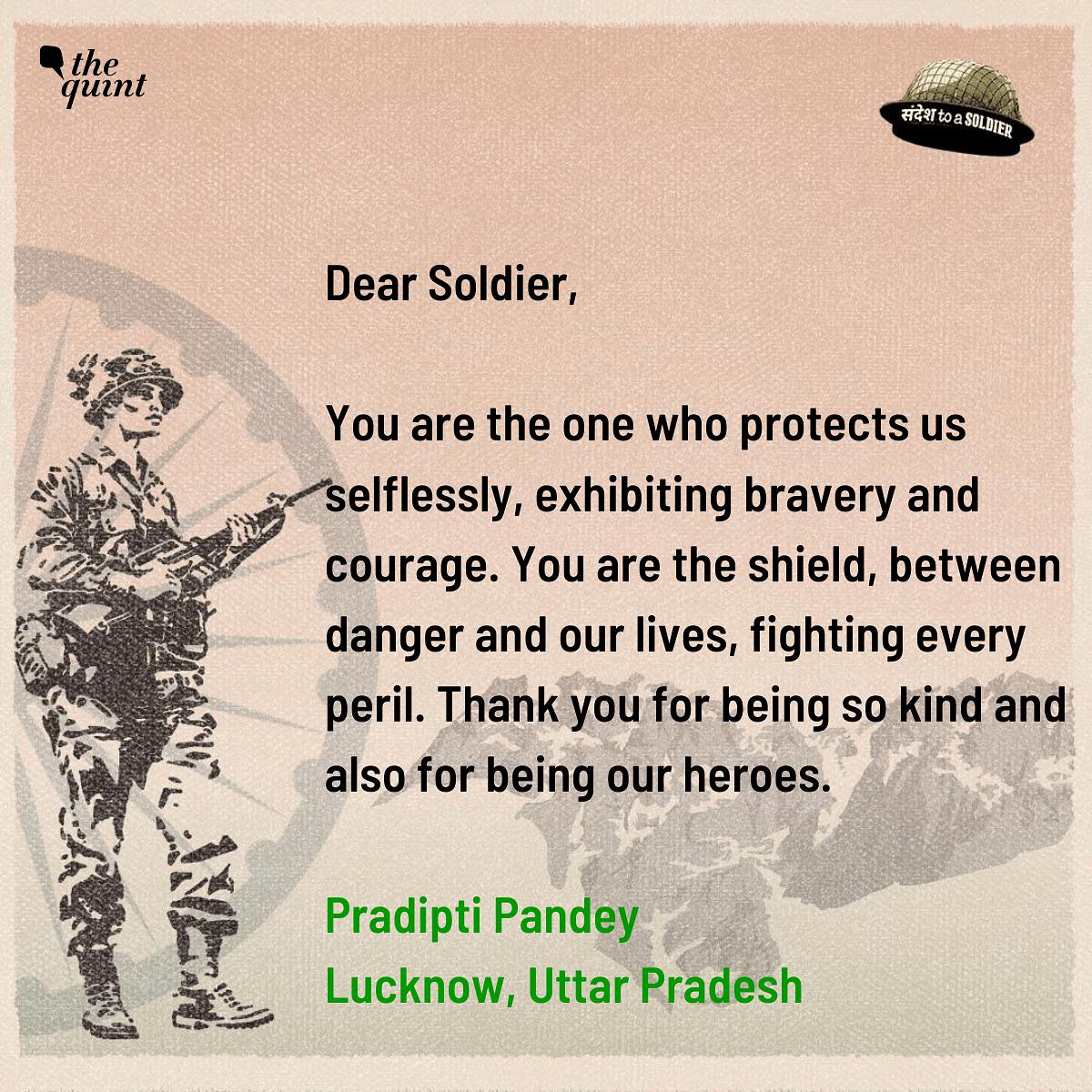Pradipti Pandey from Uttar Pradesh sends her sandesh to a soldier.