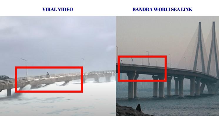 Left: Viral Video. Right: Bandra-Worli sea link.