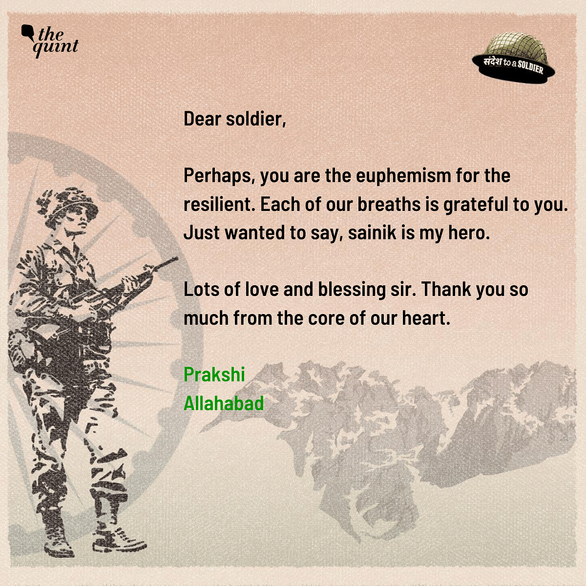 Dear Soldiers, For Our Better Tomorrow, You Sacrifice Your Today